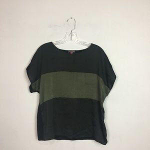 Vince Camuto color block striped blouse black L